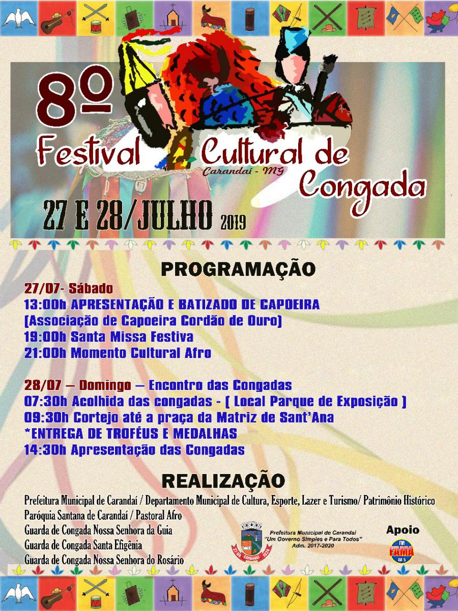 Em comemoração ao 38º Jubileu de Sant'Ana, vem aí o 8º Festival Cultural de Congada