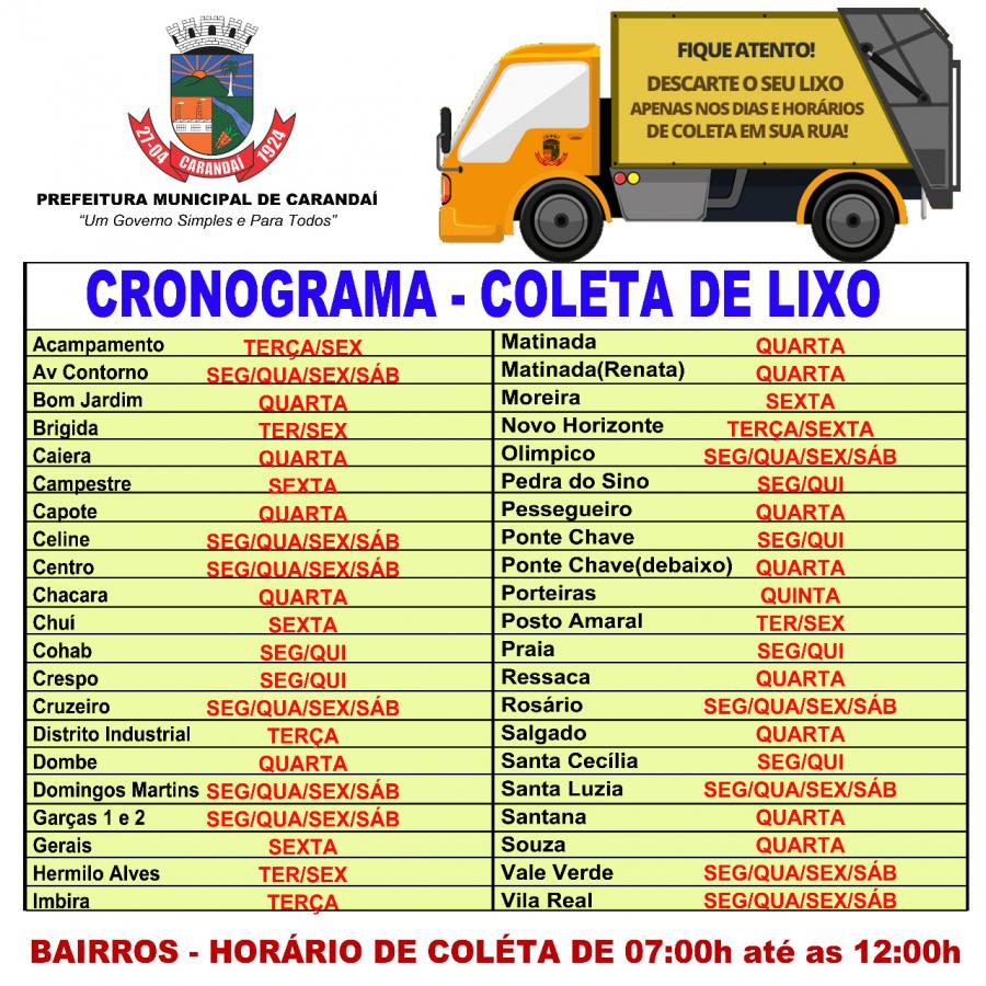 CRONOGRAMA – COLETA DE LIXO