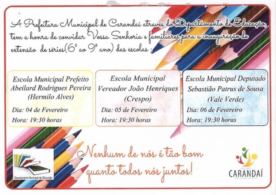 Inauguração das obras de expansão de Escolas Municipais