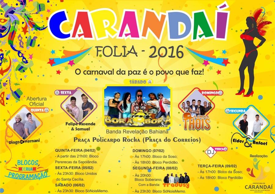 PROGRAMAÇÃO CARANDAÍ FOLIA 2016